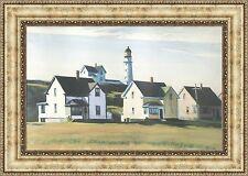 "Edward Hopper Lighthouse Village Framed Canvas Giclee Print 27""x19"" (V02-07)"