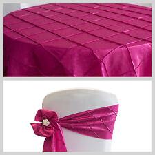 Fuchsia Rose / Framboise taffetas pintuck volets et nappes des événements de banquet