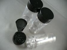SPICE BOTTLE JARS 4oz CLEAR 11 HOLE FLIP SEALING CAP LOT OF 3 RED/BLACK CAP 4 oz