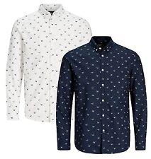 JACK & JONES Originals Long Sleeve Slim Mens Slim Fit Cotton Button Down Shirts