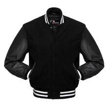 Black Varsity Letterman Wool Body Real Leather Sleeves Jacket XS-4XL