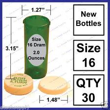30 NEW GREEN Size 16 Dram Empty RX Prescription Pill Bottles Craft Storage