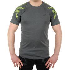 Men's Asics Stripe Short Sleeve Top Training Wicking Tee Sports T-Shirt Reflect