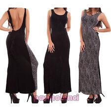 Vestito sera donna abito lungo brillantini schiena nuda party capodanno CJ-2394