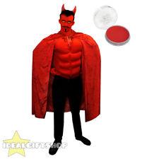 MENS RED DEVIL HALLOWEEN FANCY DRESS COSTUME CAPE MUSCLE CHEST HORNS FACE PAINT