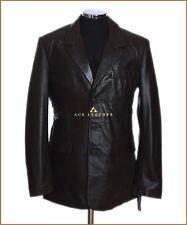 Rocco Marrón 3 botón inteligente para Hombre Estilo Vintage Real Suave piel de cordero cuero chaqueta