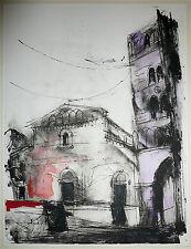 Antonio Del Donno Encre et gouache technique mixte sur papier signée Abstrait 83