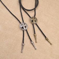 Mens Retro Cross Necklace Bolo Tie Necktie Western Rodeo Cowboy Jewelry Decor Us