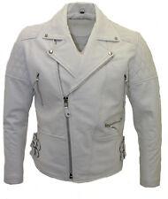 Men's White Biker Real Cowhide Leather Jacket