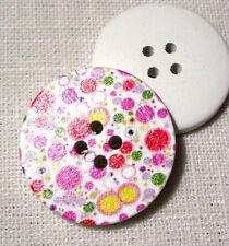 30/110 - BOUTON BOIS ** 30 mm / 3 cm ** pois coloré - au choix (de 2 à 6 boutons