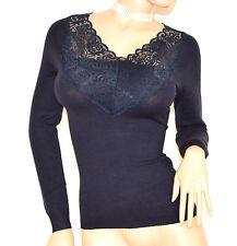 MAGLIETTA BLU donna maglia manica lunga maglione sottogiacca pizzo ricamata F110