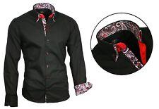 BINDER de LUXE Herren Hemd zum Anzug Jeans Krawatte Shirt schwarz 81707