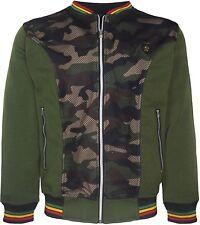 Mens Rasta Fleece Camouflage Baseball Jacket V Neck Mesh On Front Rasta Coloured