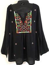 NWT Sacred Threads Black Rayon Embroidered Bohemian Top
