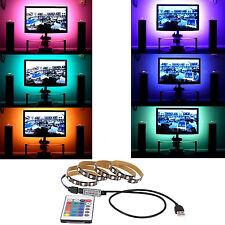 5V USB LED Strip Light Lamp Bulb 5050 RGB TV Background Lighting + IR Controller