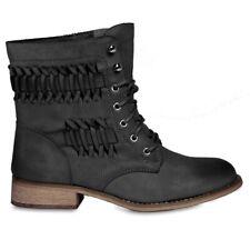 CASPAR Damen Vintage Stiefeletten Boots Schuhe Stiefel Schnürboots Flechtmuster