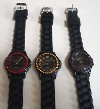 Fashion Asst Colors Jelly Silicone Rhinestone Girl's Women's Quartz Wrist Watch