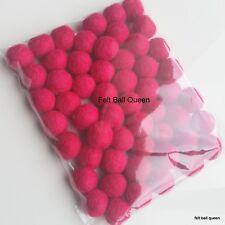 1cm Felt Balls ~ Hot Pink Color Felt Wool Balls ~ Handmade Pom Pom Woollen Beads