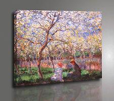 Claude Monet LA PRIMAVERA Quadro su Tela Effetto Dipinto Poster Stampa Tavola