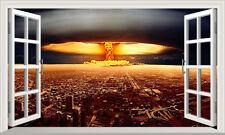 Explosion nucléaire Fenêtre Magique Self Adhésif Autocollant Mural Decal Print Poster 3D