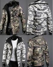 Men's Warm cotton Camo Jacket Hooded Winter fleece Thick Zipper Coat Overcoat