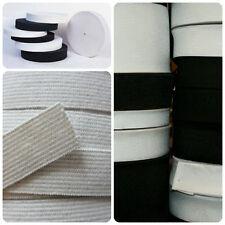 White and Black 30 mm Wide Flat Elastic