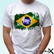 Brazil flag - white t shirt top football design - mens womens kids baby sizes