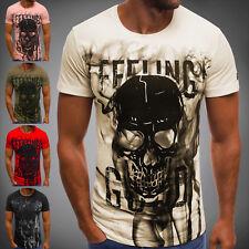 OZONEE Herren T-Shirt Kurzarm Shirt Aufdruck Figurbetont Fitness MECH/2074T
