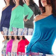 Maglia maglietta donna top jersey pipistrello carmen barchetta blusa CC-520