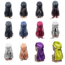 Men Silky Durags Biker Headwear Skull Cap Bandana Turban Hat Hair Accessories