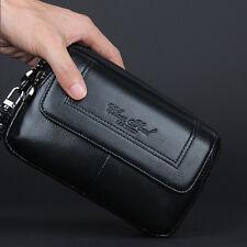 Men Genuine Leather Clutch Handy Bag Cell Phone Case Purse Belt Wrist Waist Pack