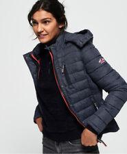 New Womens Superdry Fuji Slim Double Zip Hooded Jacket Navy Scribble