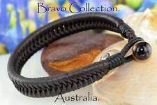 5B-062 HANDMADE Genuine Kangaroo Leather Tigers Eye STONE Wristband Men Bracelet