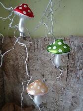 Deko Pilz aus Glas mit Klammer, creme, Weihnachtsbaumschmuck Fliegenpilz