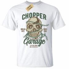 Chopper Garage T-Shirt Mens Skull biker motorcycle rider motorbike white