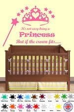 Kids Dormitorio La Princesa De Arte De Pared-si la corona se ajusta, calcomanía pegatina de vinilo de cotización
