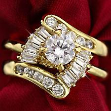 18K YELLOW GOLD GF VICTORIAN WOMENS SIMULATED DIAMOND INFINITY WEDDING RINGS SET