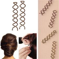 2 Hair Twist Spiral Styling Women Barrette Clips Screw Pins Fashion Grips Spin