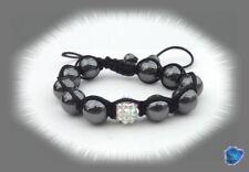 Bracelet Shamballa -Perle Shamballa et Strass Blancs_ Perles Hématites 10 mm