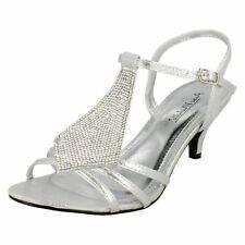 Anne Michelle F1R0652 Ladies Silver Shoes Diamante Frontage (R21A)