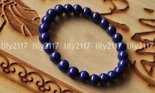 "Genuine 6row 8/"" 6mm round lapis lazuli beads Bracelet j6439"