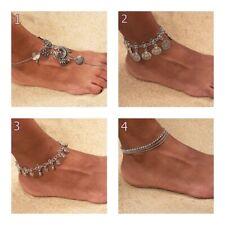 Fußkette - Fußkettchen Vintage Boho Bohemian versilbert Schmuck Blogger #S37