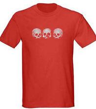 Mens Three Skull Red T Shirt, S-5XL, Pirate Goth Graphic Death Punk Metal Tee