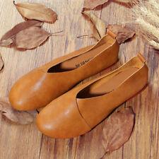 Femme Large Size Pure Couleur Slip On Vintage Casual Plat Loafers Cuir Souple
