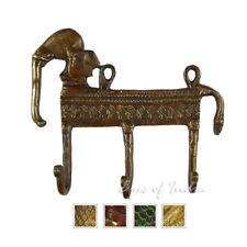 "5"" Brass Elephant Decorative Boho Bohemian Indian Wall Hangers Hooks Coat Rack A"