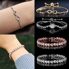 Fashion Zircon Crystal Bracelet Women Chain Rhinestone Bangle Wedding Jewelry