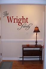 Personalized family name wall art vinyl decal/sticker decor custom family room