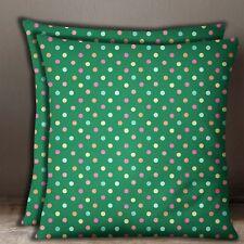 S4Sassy 1 Pair Polka Dot Print Cotton Poplin Pillow Sofa Cushion Cover Throw