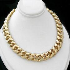 "ALL SIZES 16""-30"" 11mm Men ROUNDED CURB Link 14K Gold GL Necklace LIFETIME GUAR"
