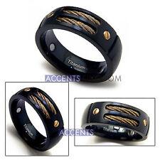 8MM Men's Gun Metal Black Titanium Magnetic Gold Cable Ring Size 8-12